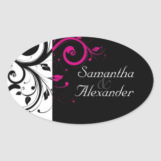 Black and White with Magenta Swirl Accent Oval Sticker
