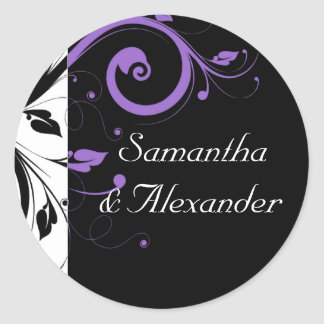Black and White with Purple Swirl Accent Classic Round Sticker