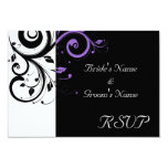 Black and White with Purple Swirl Accent Custom Announcement