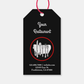 Black and White with Red Custom Restaurant Tag