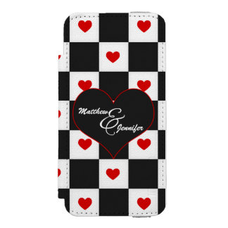 Black and White with Red Heart Checkerboard Incipio Watson™ iPhone 5 Wallet Case