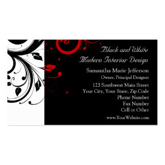 Black and White with Red Reverse Swirl Pack Of Standard Business Cards