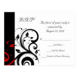 Black and White with Red Reverse Swirl Post Card