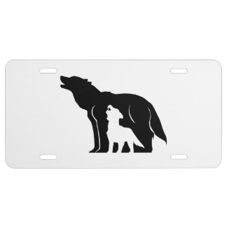 Black and White Wolves License Plate