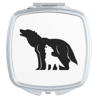 Black and White Wolves Mirror For Makeup