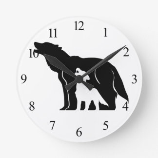 Black and White Wolves Round Clock