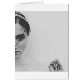 Black and White Woman and yarn Card
