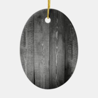 Black and White Wood Print Ceramic Ornament
