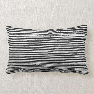 Black and White Wood Stripe Texture Pattern Pillow