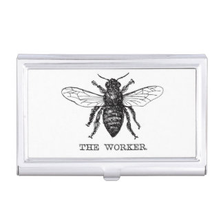 Black and White Worker Bee Vintage Business Card Holder