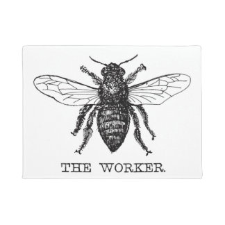 Black and White Worker Bee Vintage Doormat