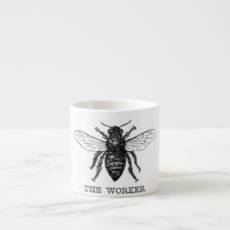 Black and White Worker Bee Vintage Espresso Cup