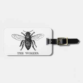 Black and White Worker Bee Vintage Luggage Tag
