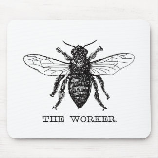 Black and White Worker Bee Vintage Mouse Pad