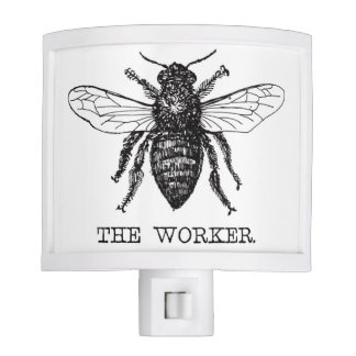 Black and White Worker Bee Vintage Nite Lites