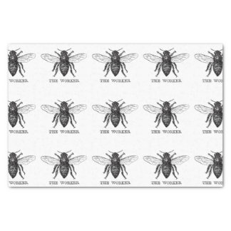 Black and White Worker Bee Vintage Tissue Paper