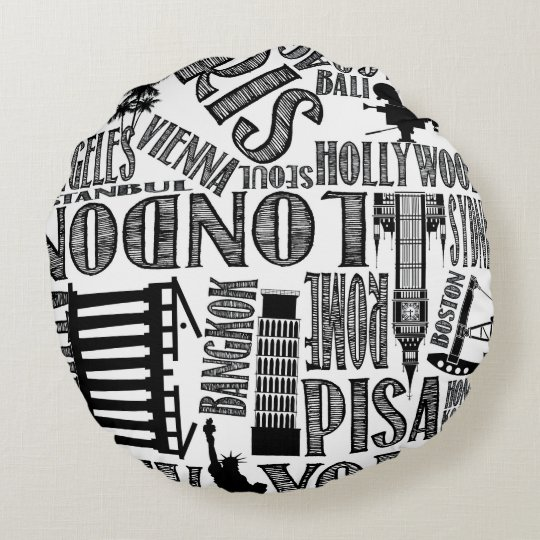 Black and White, World Cities Pillow