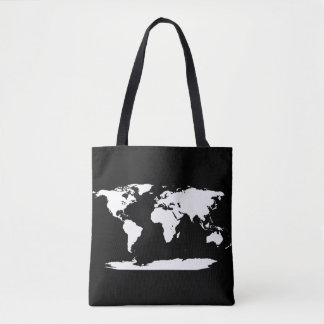 Black And White World Map + Initial Tote Bag