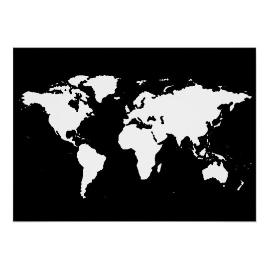 Black And White World Map Poster Zazzleca - World map silhouette poster