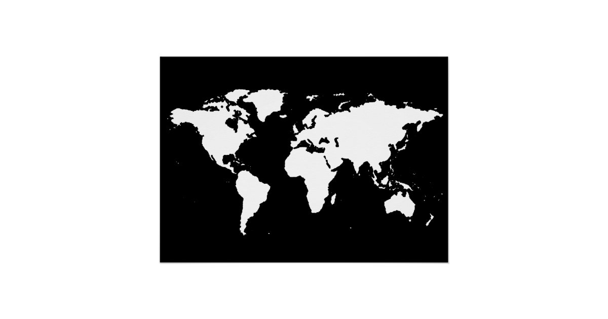 Map posters zazzle canada black and white world map poster gumiabroncs Images