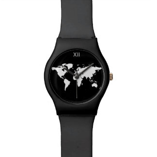 black and white world map wristwatches