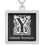 Black and White Y Monogram Initial Personalized