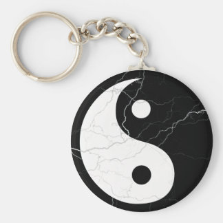 Black and White Yin and Yang Keychain
