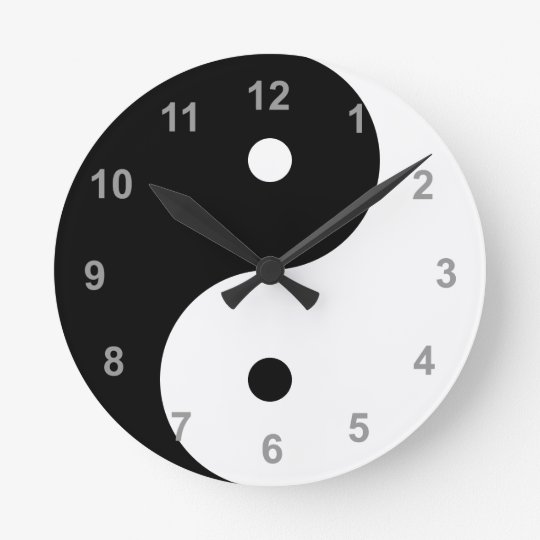 Black and White Yin Yang Clock