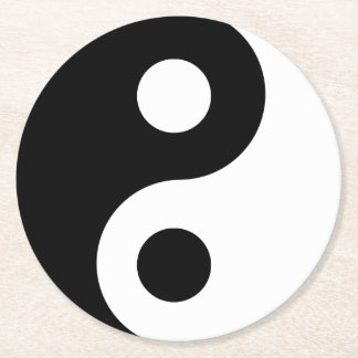Black and White Yin Yang Symbol Round Paper Coaster