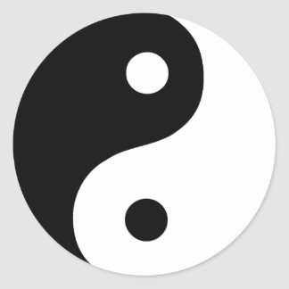 Black and White Yin Yang Taoist Symbol Classic Round Sticker