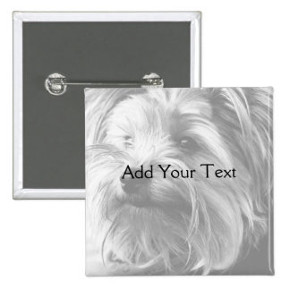Black and White Yorkshire Terrier Yorkie 2 Inch Square Button