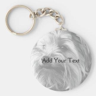 Black and White Yorkshire Terrier Yorkie Keychain