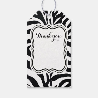 Black and white zebra animal fashion modern gift tags