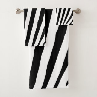 Black and White Zebra Animal Print Bath Towel Set