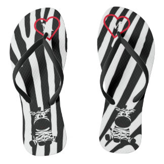 Black and White Zebra Animal Print Pattern Monogra Flip Flops