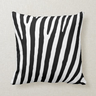 Black and White Zebra Animal Print Pattern Throw Pillow