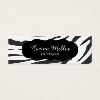 Black and White Zebra Hair Stylist Mini Business Card