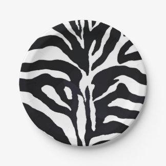 Black and white zebra modern fashion glamour paper plate