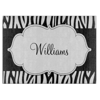 Black and White Zebra Personalized Cutting Board
