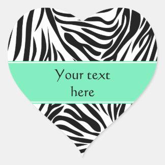 Black and White Zebra Print and Seafoam Mint Green Heart Sticker