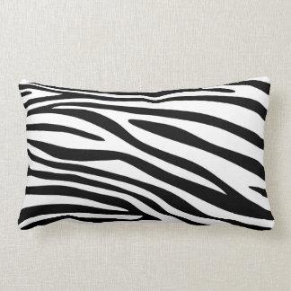 Black and White Zebra Print Fur Lumbar Pillow