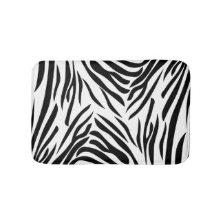 Black and White Zebra Print Pattern Bath Mat