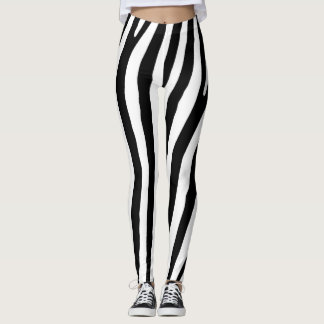 Black and White Zebra Print Pattern Leggings