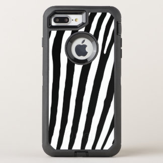 Black and White Zebra Print Pattern OtterBox Defender iPhone 8 Plus/7 Plus Case