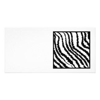 Black and White Zebra Print Pattern Custom Photo Card