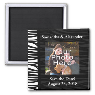 Black and White Zebra Print Photo Save the Date Square Magnet