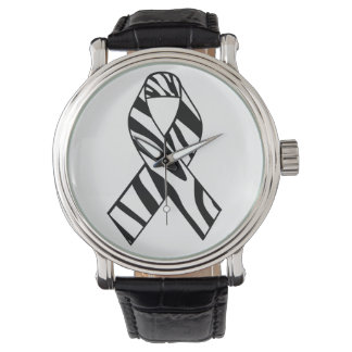 Black and White Zebra Print Ribbon Wrist Watch