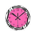 Black and White Zebra Print Round Clock
