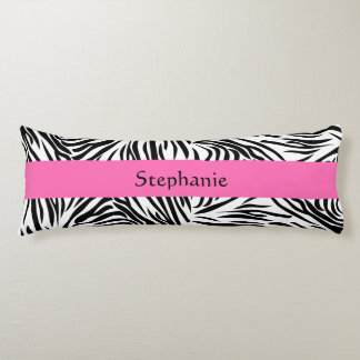 Black and White Zebra Print with Hot Pink Body Pillow