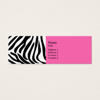 Black and White Zebra Print with Hot Pink Mini Business Card